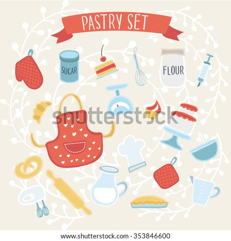 Vector illustration of pastry elements set - stock vector