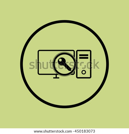 Vector illustration of pc access sign icon on green circle background.