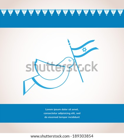 Vector illustration of Peace dove holding Israeli flag - stock vector