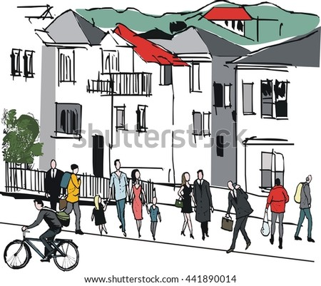 Vector illustration of pedestrians and cyclist in inner city suburb, Wellington New Zealand