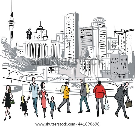 Vector illustration of pedestrians walking in city, Auckland, New Zealand