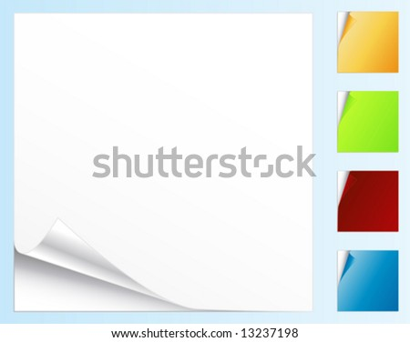 Vector illustration of peeled stickers or note papers in different colors. - stock vector