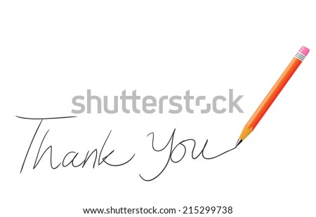 Vector illustration of pencil writing thank you isolated on white - stock vector
