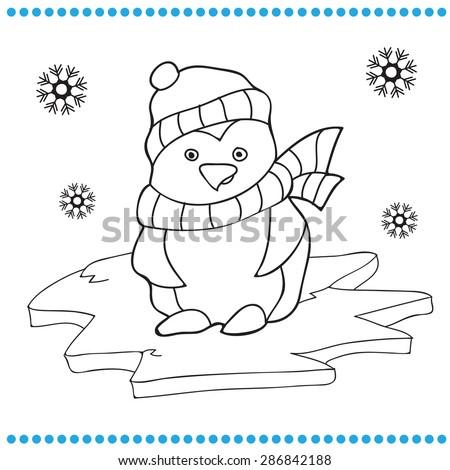 Vector illustration of Penguin cartoon - Coloring book - stock vector