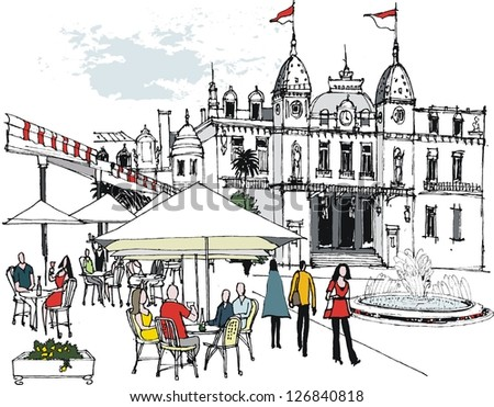 Vector illustration of people eating at outdoor restaurant, Monaco. - stock vector