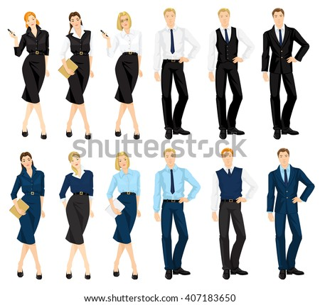 Vector illustration of people in official blue and black suits isolated on white background. Business team.