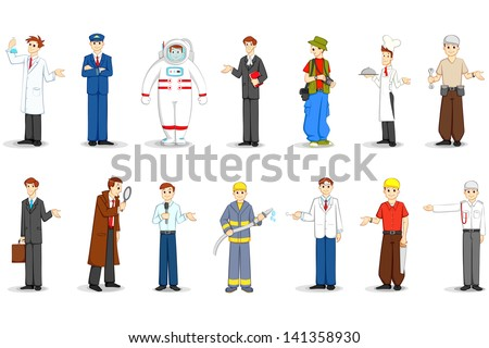vector illustration of people of different profession - stock vector