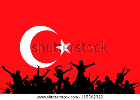 Vector Illustration of people partying on the flag of Turkey - stock vector
