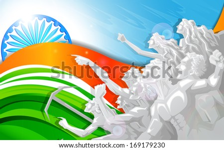 vector illustration of people raising hand in Indian Tricolor flag - stock vector