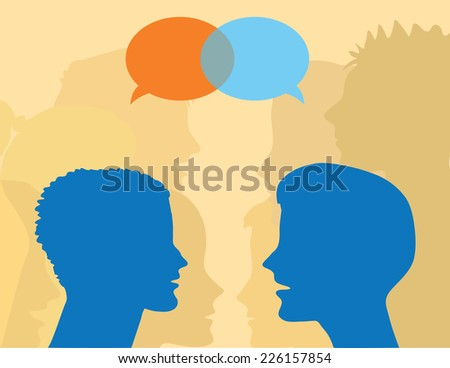 Vector illustration of people talking and speech bubbles. - stock vector