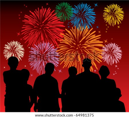 vector illustration of people watching fireworks - stock vector