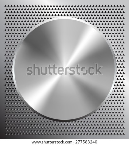 Vector illustration of perforated technology background with metallic button - stock vector