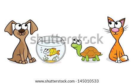 Vector illustration of pets for a pet-shop