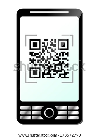 vector illustration of phone with qr code on white background