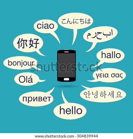 Vector illustration of phone with various languanges on talk balloons. - stock vector