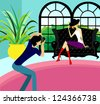 Vector illustration of photographer and model - stock vector