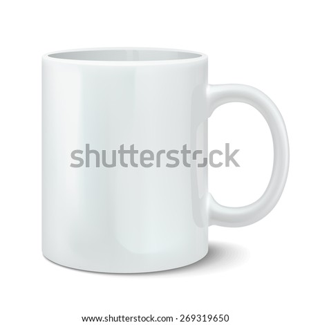 Vector illustration of photorealistic white cup - stock vector