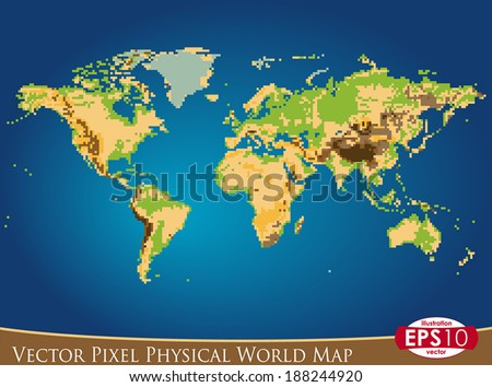Vector illustration physical world map pixel stock vector 188244920 vector illustration of physical world map in pixel art style hand draw point by point gumiabroncs Image collections