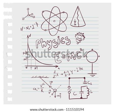 Vector illustration of Physics set - stock vector