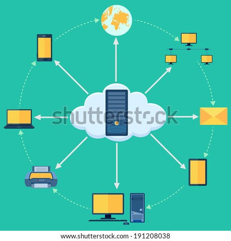 vector illustration of pictogram of cloud computing - stock vector