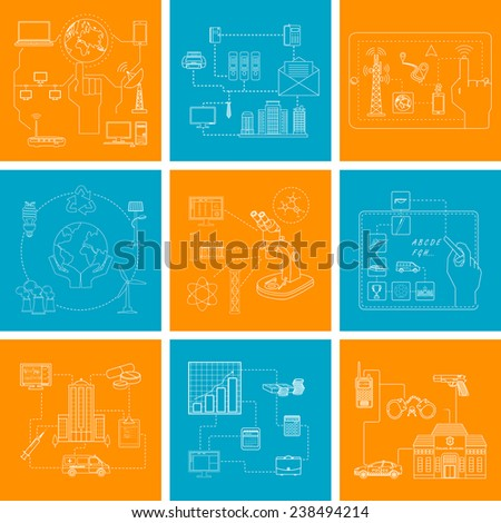 vector illustration of pictogram of different business,technology,education and environmental concept - stock vector