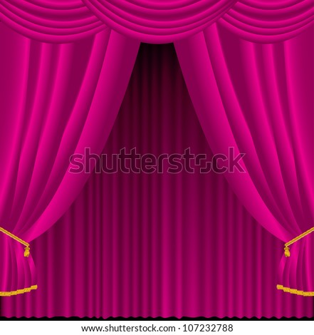 Vector illustration of pink curtains. - stock vector