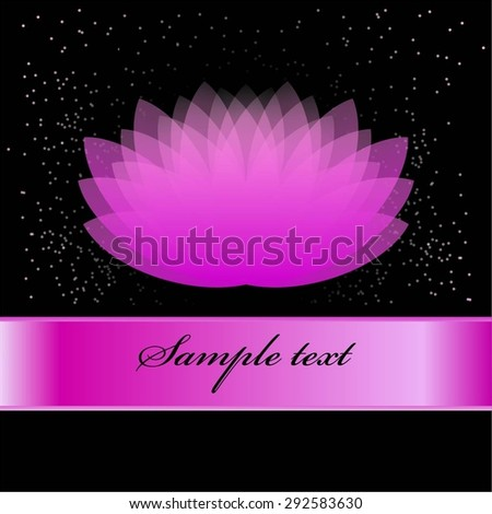 Vector illustration of Pink flofer and lilac ribbon on a black background with sparkles. - stock vector