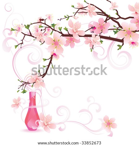 vector illustration of pink sakura with  parfume bottle, high detailed flowers - stock vector