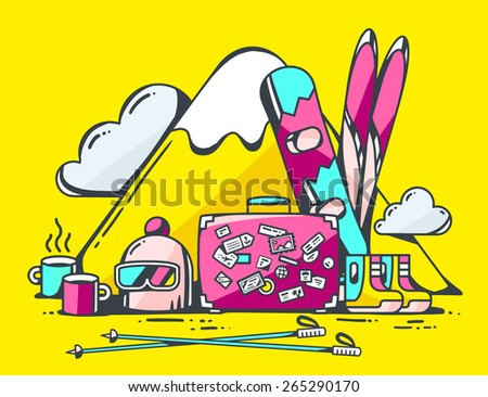 Vector illustration of pink suitcase and winter travel accessories on yellow background. Hand draw line art design for web, site, advertising, banner, poster, board and print. - stock vector