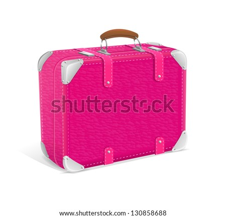 Vector illustration of pink travel suitcase - stock vector