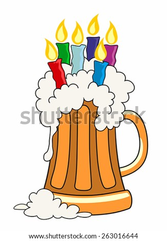 Vector illustration of pint of beer with candles - stock vector