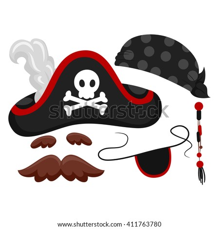 Vector Illustration of Pirate Elements - stock vector