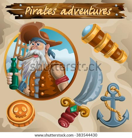 Vector illustration of pirate icon set. Objects isolated. - stock vector