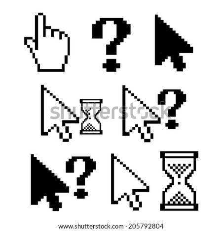 vector illustration of pixel characters on a white background