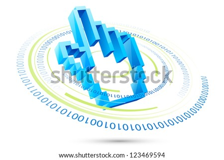 vector illustration of pixelated hand pointer with binary code - stock vector