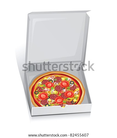 Vector illustration of pizza in a paper box.Isolated on white.