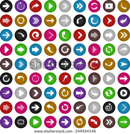 Vector illustration of plain round arrow icons. - stock vector