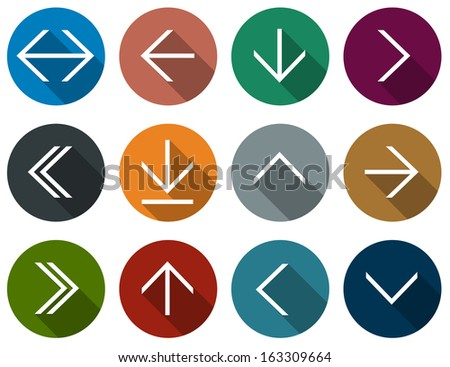 Vector illustration of plain round arrow icons. Flat design.  - stock vector