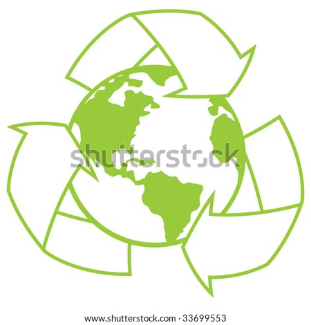 Vector illustration of planet Earth surrounded by a recycle symbol. Great icon for going green design. - stock vector