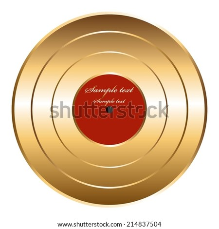 Vector illustration of Plate. Gold disc. - stock vector