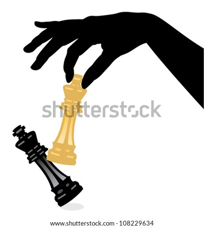 vector illustration of playing chess game and defeating the king - stock vector