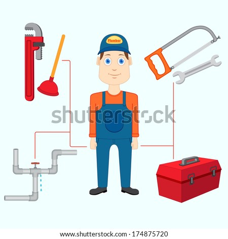 vector illustration of plumber with tool - stock vector
