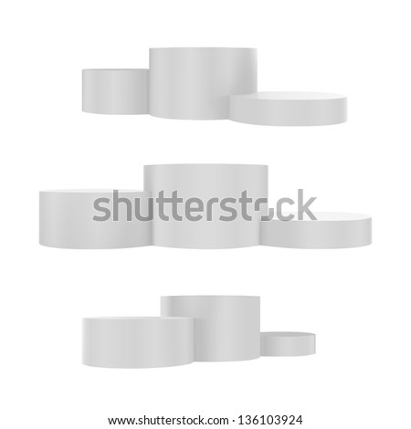 Vector illustration of podium. Different views - stock vector