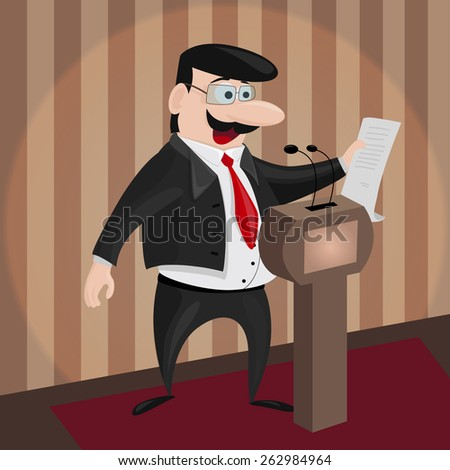 Vector Illustration of Politician behind the podium making report