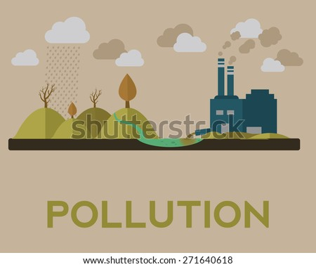 Vector illustration of pollution - stock vector