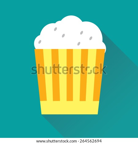 Vector illustration of pop corn flat icon in blue square background with diagonal shadow - stock vector