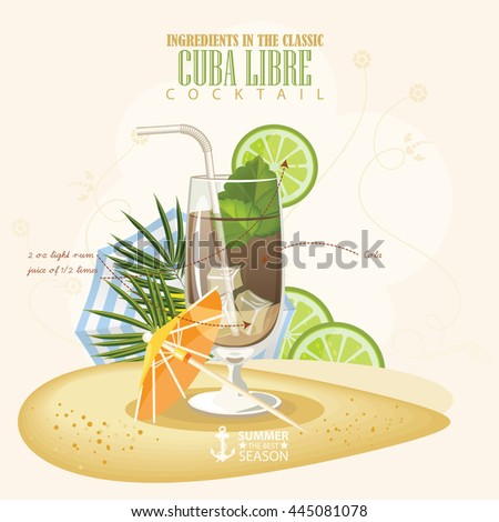 Vector illustration of popular alcoholic cocktail. Cuba libre club alcohol shot.