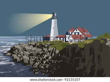 vector illustration of Portland Head Light - stock vector