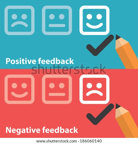 Vector illustration of positive and negative feedback concept. Minimal and flat design - stock vector