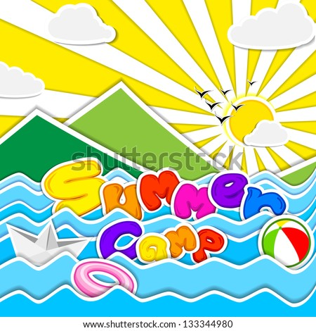 vector illustration of poster design for Summer Camp - stock vector